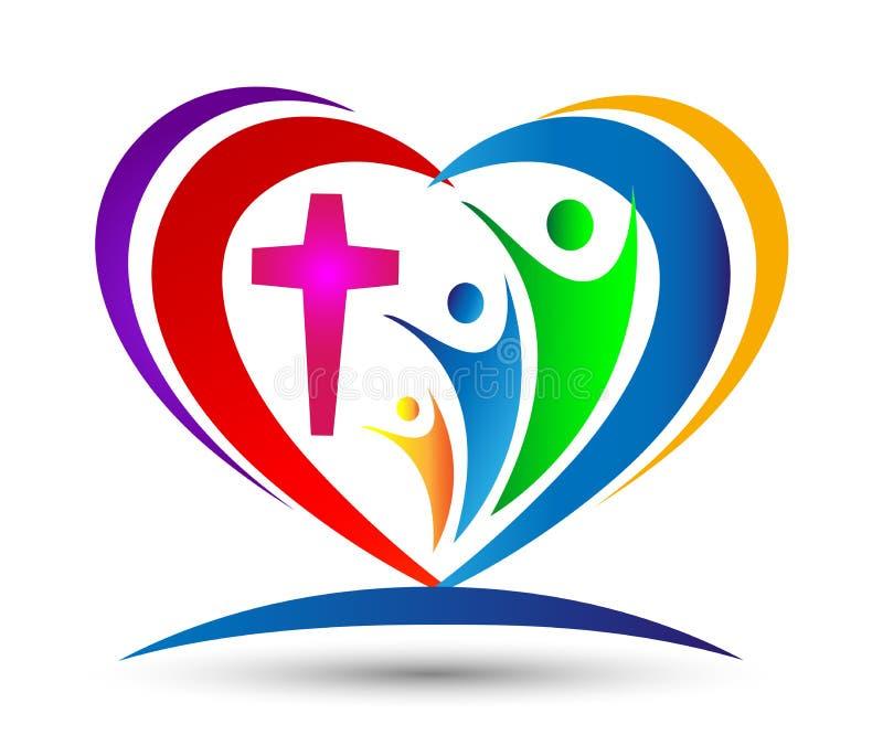 Formad logo för familjkyrkaförälskelse facklig hjärta stock illustrationer