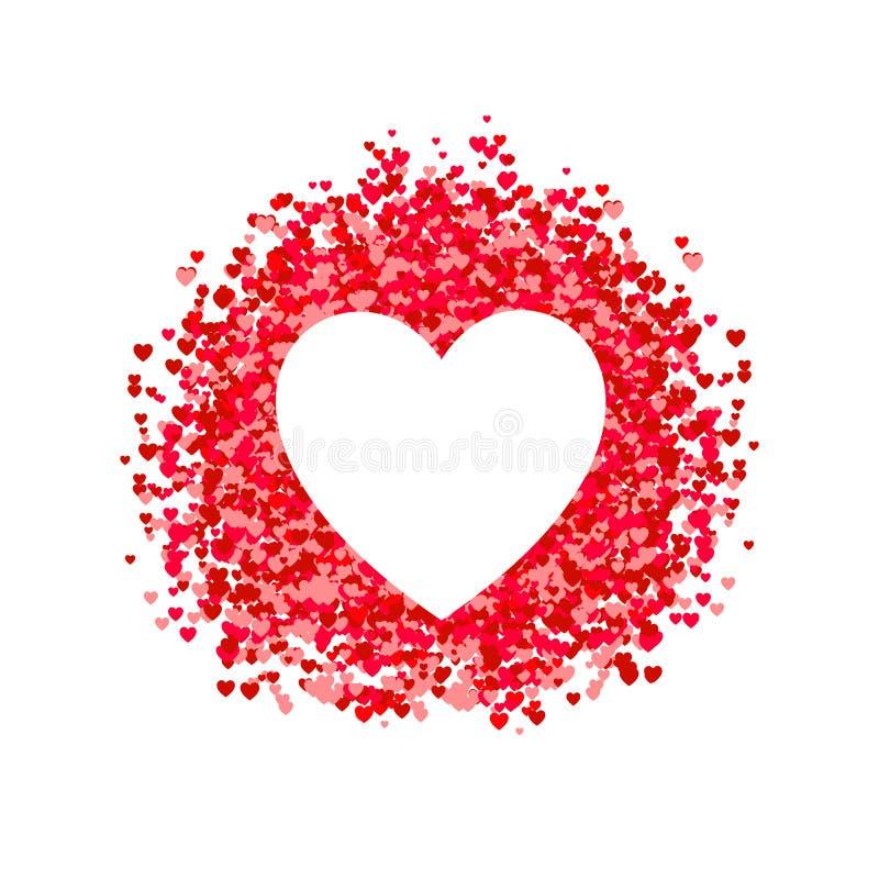 Formad ram för VEKTOR hjärta, hjärtaformkonfettier, hög av hjärtor, romantiska rosa och röda pappers- hjärtor för bakgrund, vektor illustrationer