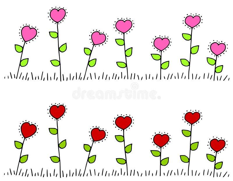 formad red för pink för kantblommahjärta stock illustrationer