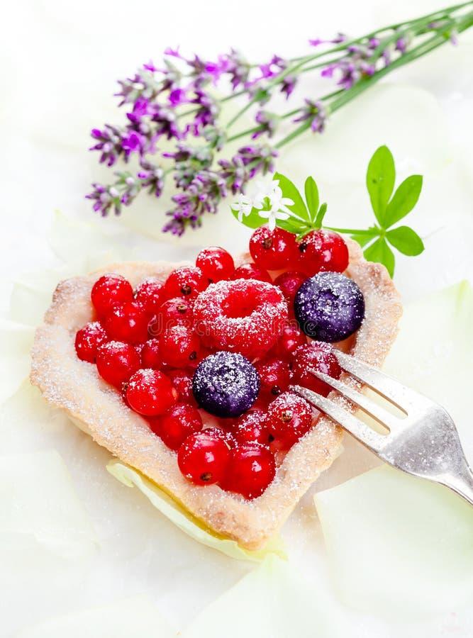 formad tartlet för hjärta redcurrant royaltyfri bild
