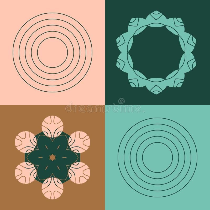 Formade abstrakt brons för vektorn, skogen, rosen, grönmyntamodellen med geometriskt och blomman beståndsdelar dekorativ prydnad stock illustrationer