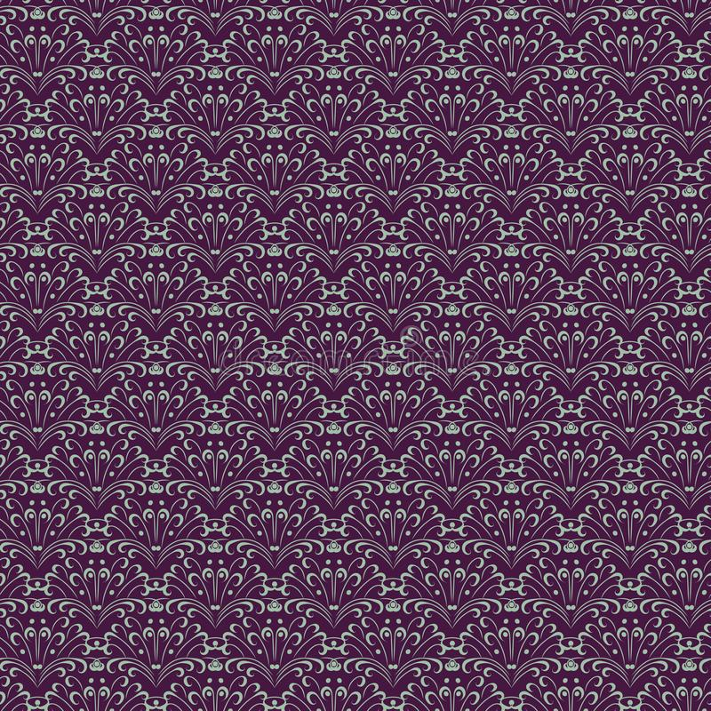 Formade den purpurfärgade damast modellen för den sömlösa vektorn med bladet linjer vektor illustrationer