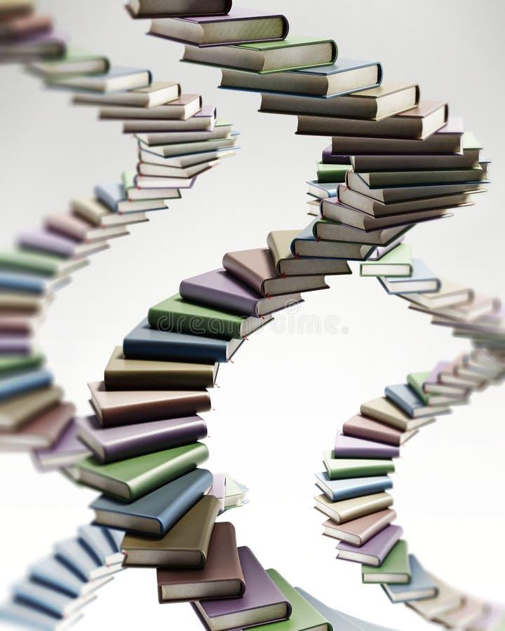 Formade mång- kulöra böcker för spiraltrappuppgång illustration 3d royaltyfri illustrationer