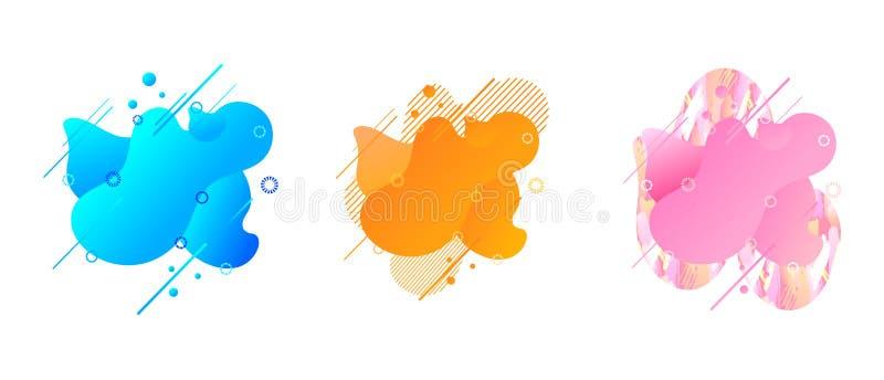 Formade modern abstrakt flytande för vektorn beståndsdelar för den grafiska designen som isolerades på vit bakgrund, dynamiska fä vektor illustrationer