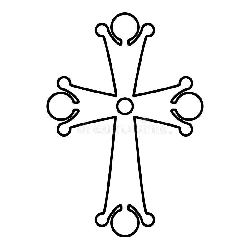Formade spetsig arg droppe fyra bild för stil för arg för korssymbol för monogram religiös svart för färg för översikt illustrati stock illustrationer