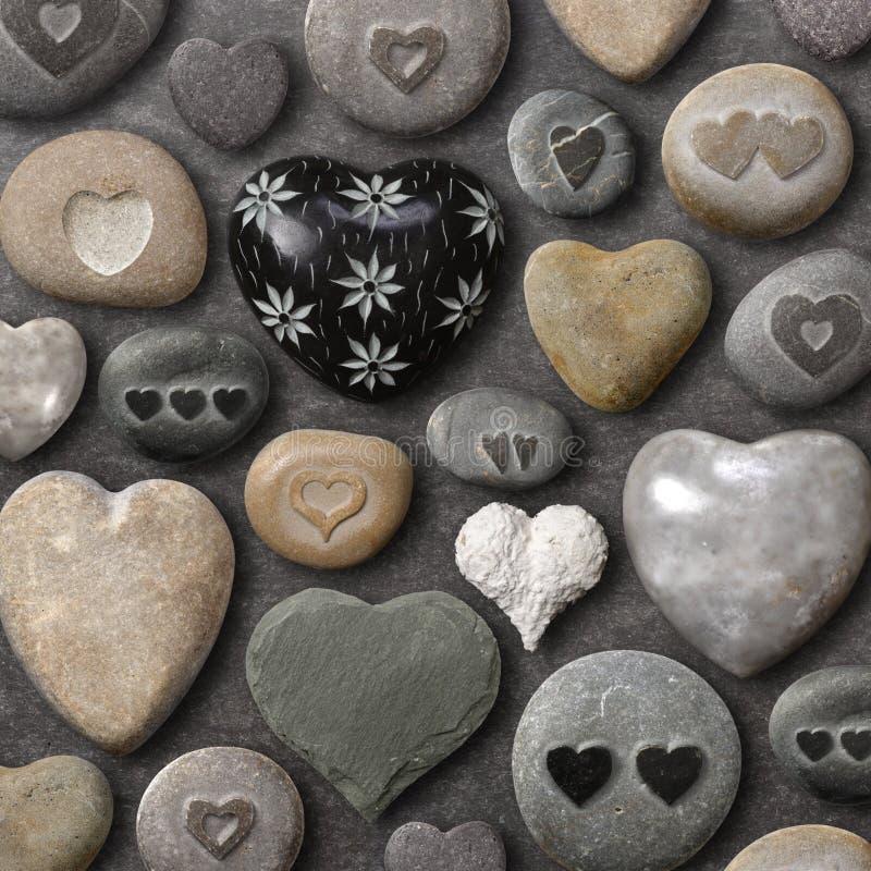 formade stenar för hjärta rocks arkivfoton