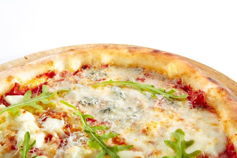 Formaggi della pizza quattro o pizza di Ai Quattro Formaggi fotografia stock