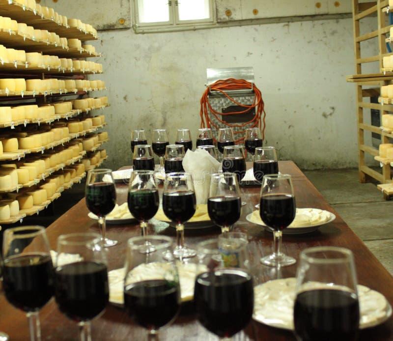 Formaggi dello zaschnyh del vino fotografia stock