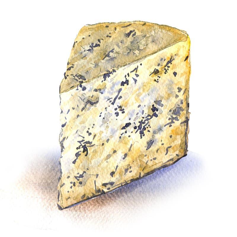 Formaggio blu, Gorgonzola, fetta, primo piano, illustrazione dell'acquerello su bianco royalty illustrazione gratis