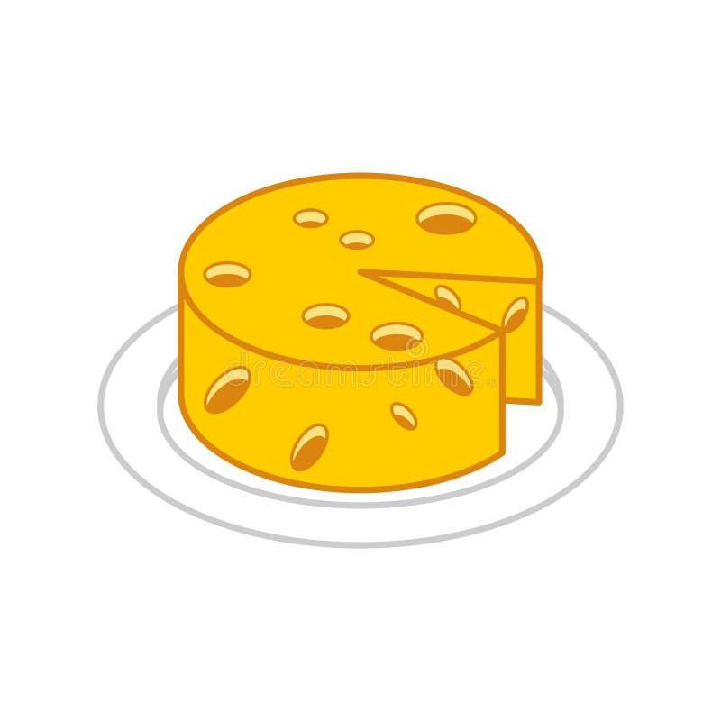 Formaggio capo sul piatto Illustrazione di vettore dell'alimento royalty illustrazione gratis