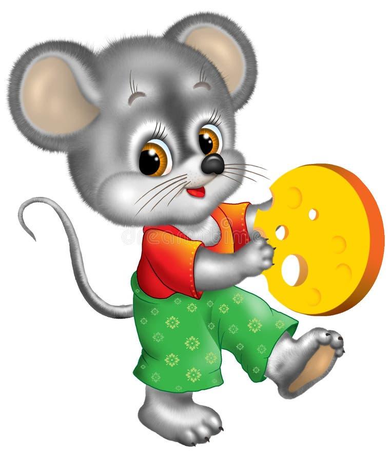 Formaggio della holding del mouse illustrazione di stock