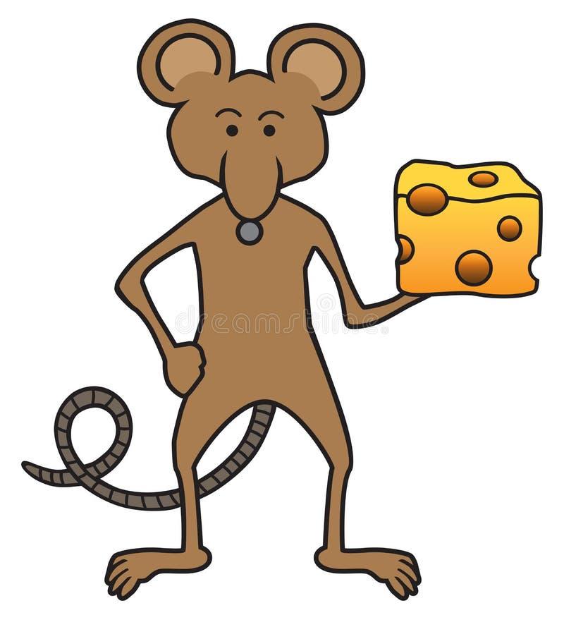 formaggio della tenuta del topo del fumetto illustrazione di stock