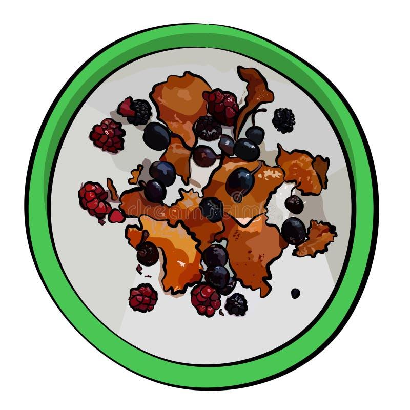 Formaggio fresco del ` s dell'agricoltore, ricotta, tvorog, quark o ricotta con le bacche fresche in ciotola verde immagine stock
