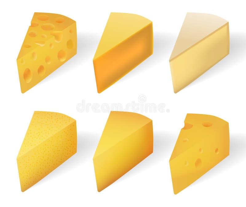 Formaggio giallo squisito isolato su bianco Tipi realistici del formaggio messi isolati su bianco Illustrazione di vettore illustrazione di stock