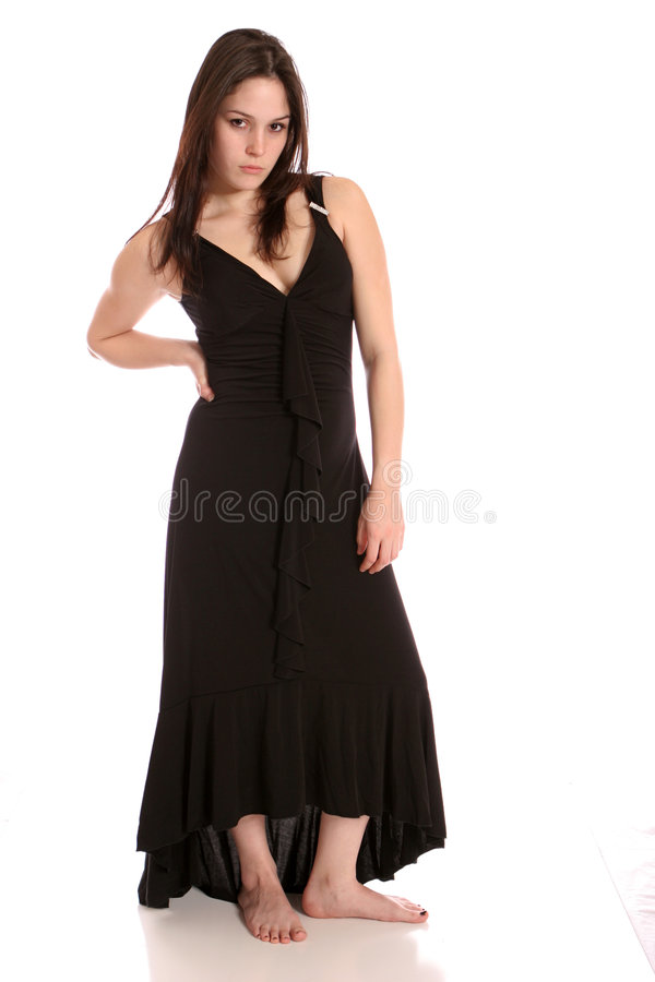 Formal brunette barefoot royalty free stock photography