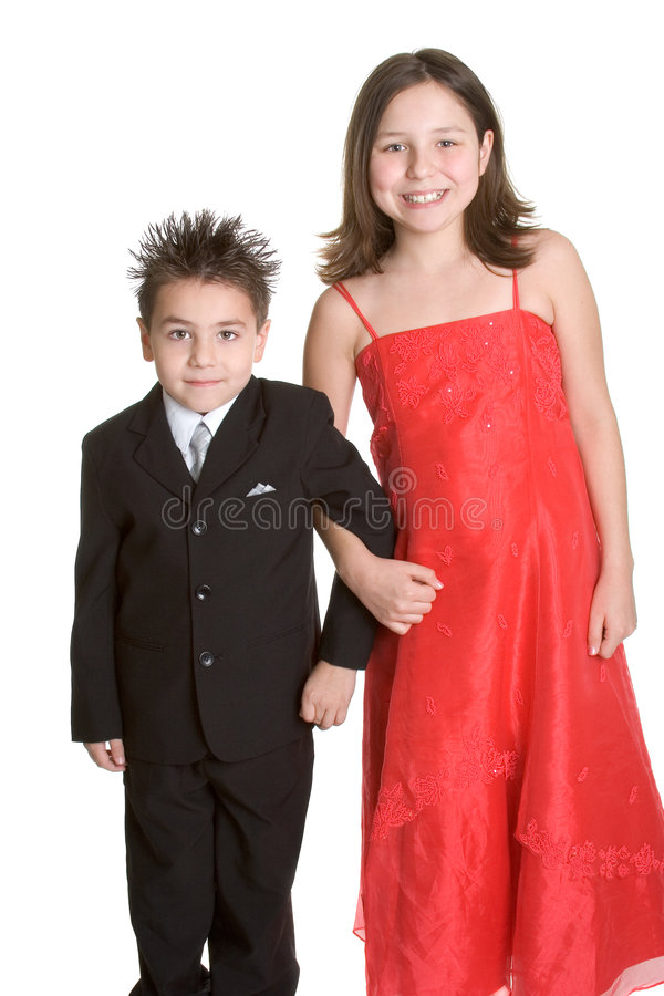 Formal Children. Happy formal young children isolated stock image