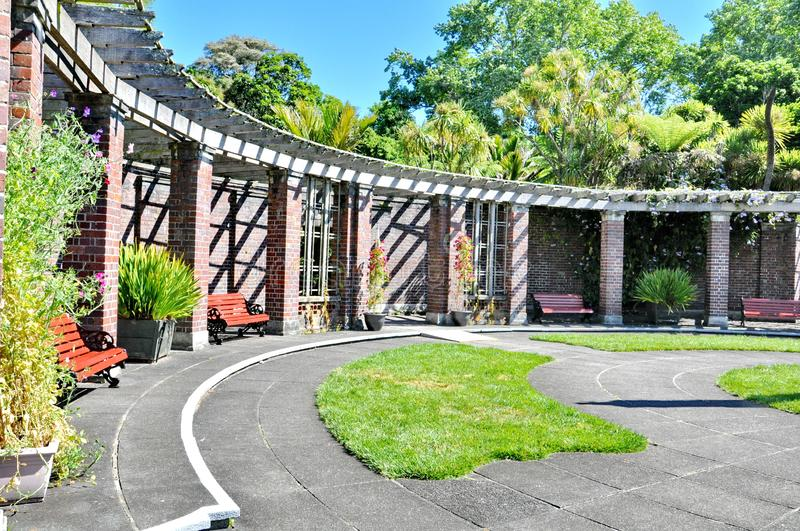 The formal courtyard at the Auckland Domain Winter Garden royalty free stock images