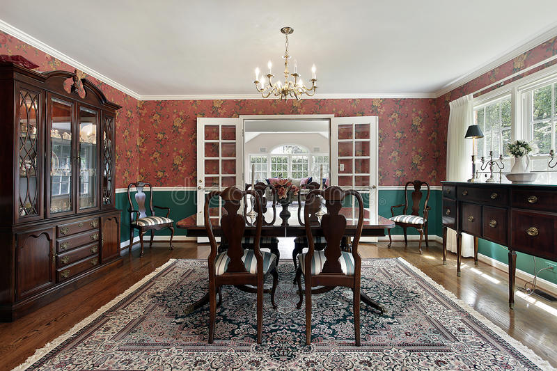 Download Formal Dining Room With French Doors Stock Image