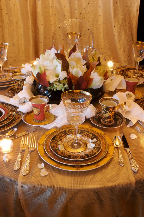 Download Formal Dining Room Place Setting Royalty Free Stock Photo