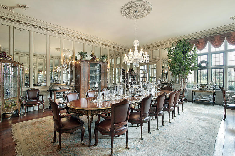 Download Formal Dining Room With Wall Mirrors Stock Photos - Image: 11995453
