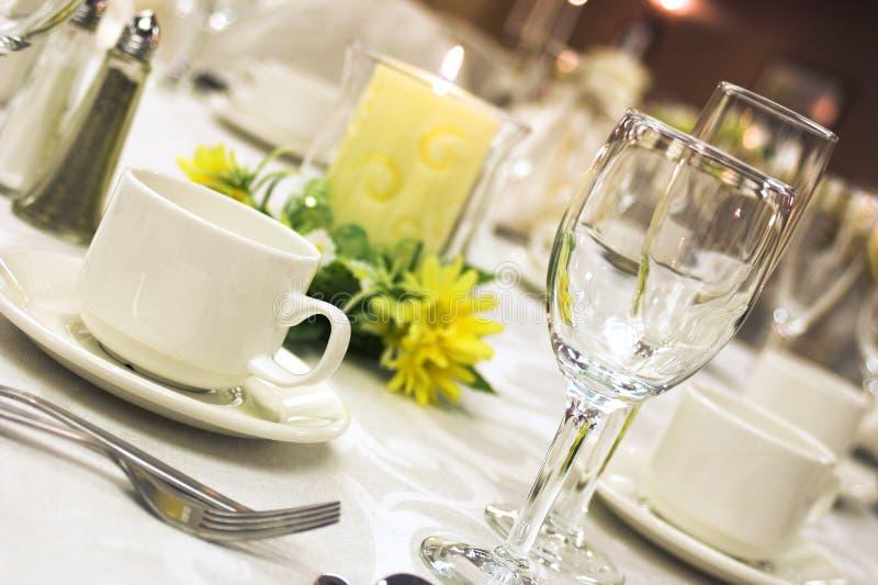 Formal dinner setting stock photo