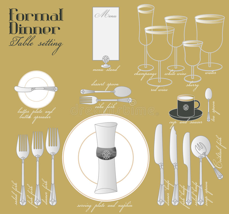 FORMAL DINNER TABLE SETTING  sc 1 st  Dreamstime.com & FORMAL DINNER TABLE SETTING Stock Vector - Illustration of course ...