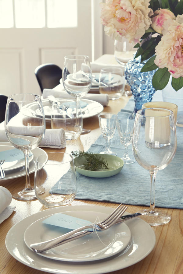 Download Formal Dinner Table Setting At Home Stock Image - Image of dinner flowers & Formal Dinner Table Setting At Home Stock Image - Image of dinner ...