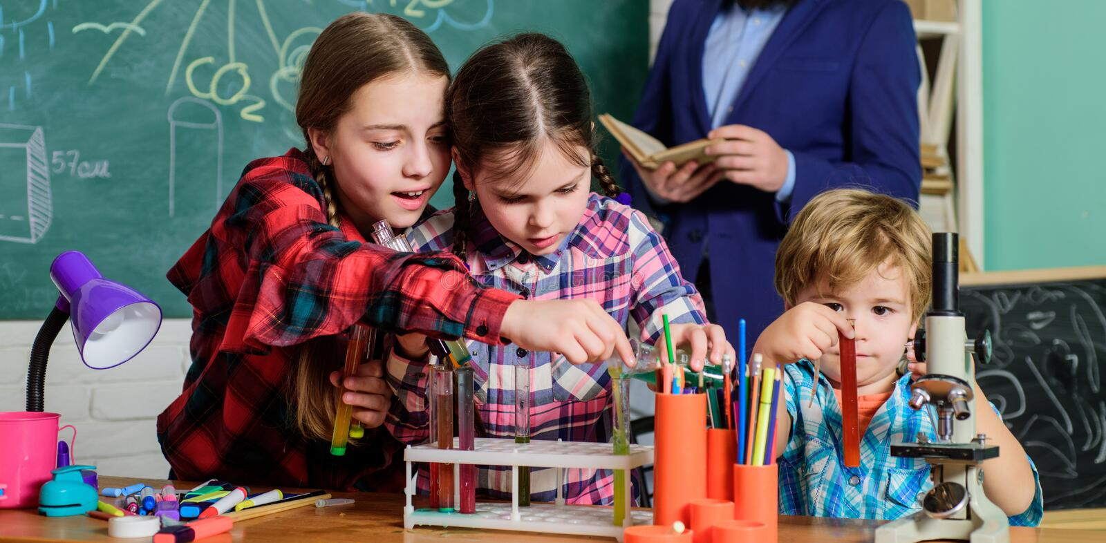 Formal education. Learning is integrated. Group interaction communication. Practical knowledge. Elementary basic stock photos