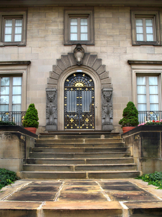 Formal entry and stone stairs