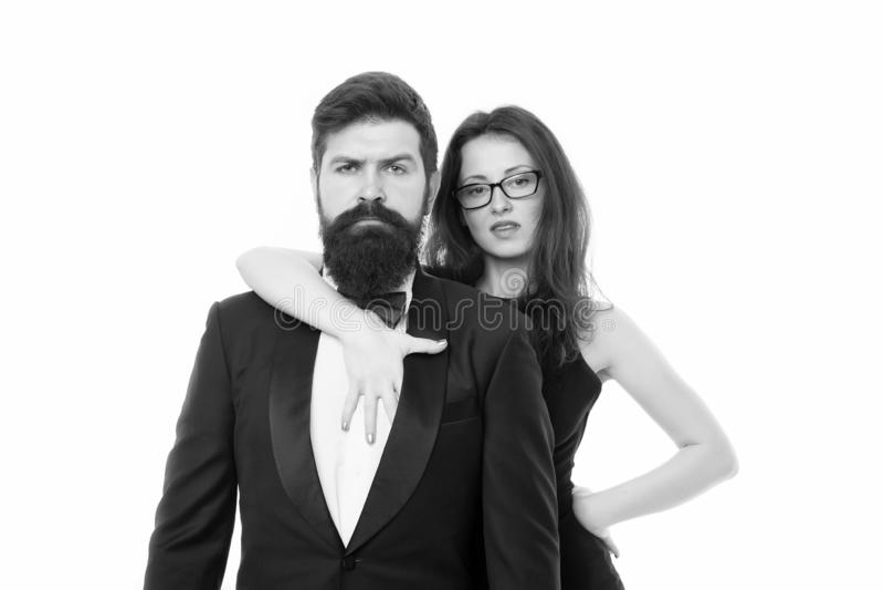 Formal fashion. Business couple. Love. Romantic couple in love. Elegant couple in formal wear. sexy woman bearded man stock photography