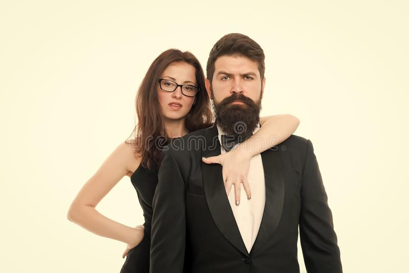Formal fashion. Business couple. Love. Romantic couple in love. Elegant couple in formal wear. sexy woman bearded man. Formal fashion. Business couple. Love stock images