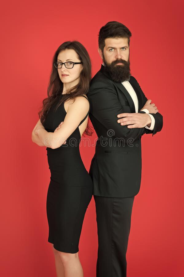Formal fashion and elegant clothes. Luxury fashion boutique. Fashion clothes shop. Official event. Couple man in tuxedo stock photo