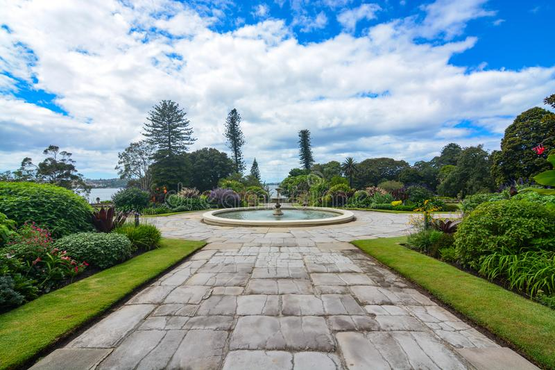 Formal flower gardens of the historic Sydney Government House in Australia. Exquisite ornamental flowerbeds and gardens on the grounds of Sydney`s historic stock image