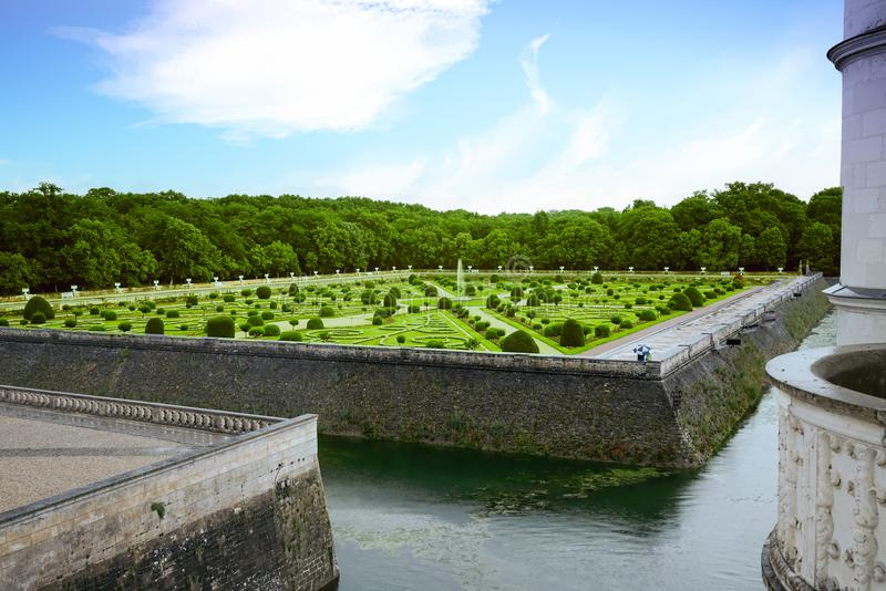 Formal French garden in Chenonceau royalty free stock photo