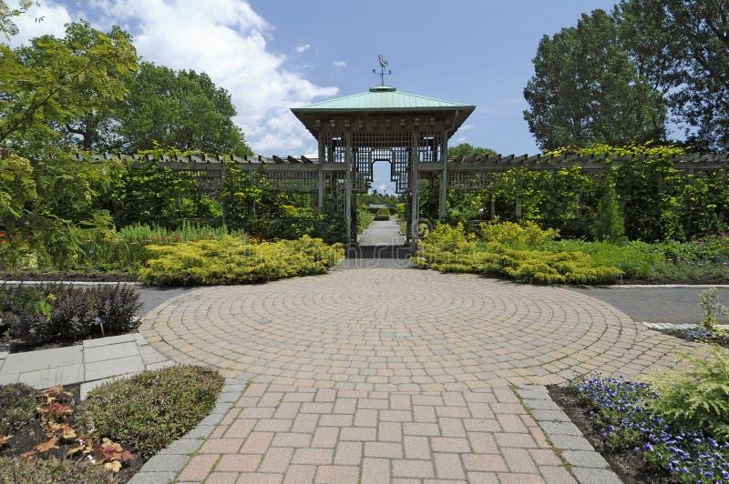 Formal Garden Path. A formal garden path and atrium at a local botanical garden royalty free stock photos