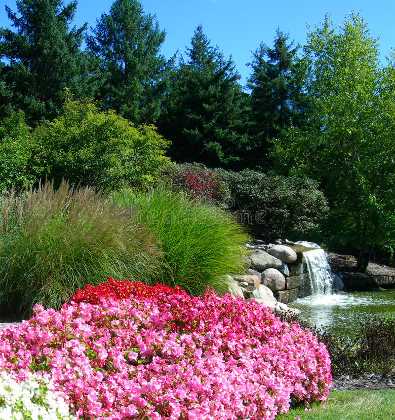 Formal Garden With Waterfall Stock Photo