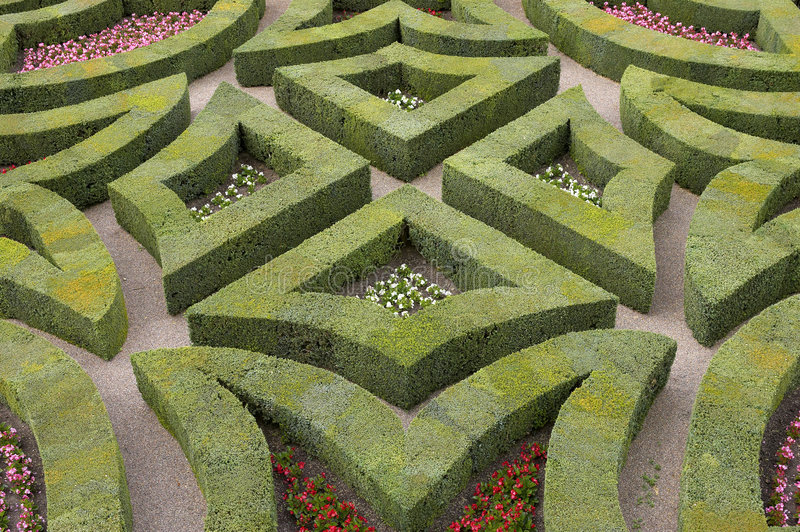 Formal gardens at chateau, de, villandry, loire, valley, france royalty free stock image