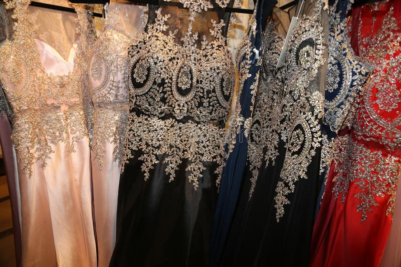 Formal garment industry- manufacturing fancy gowns for New Years or Prom!. The luxury gament industry produces many styles of fancy gowns, and the most popular royalty free stock photos
