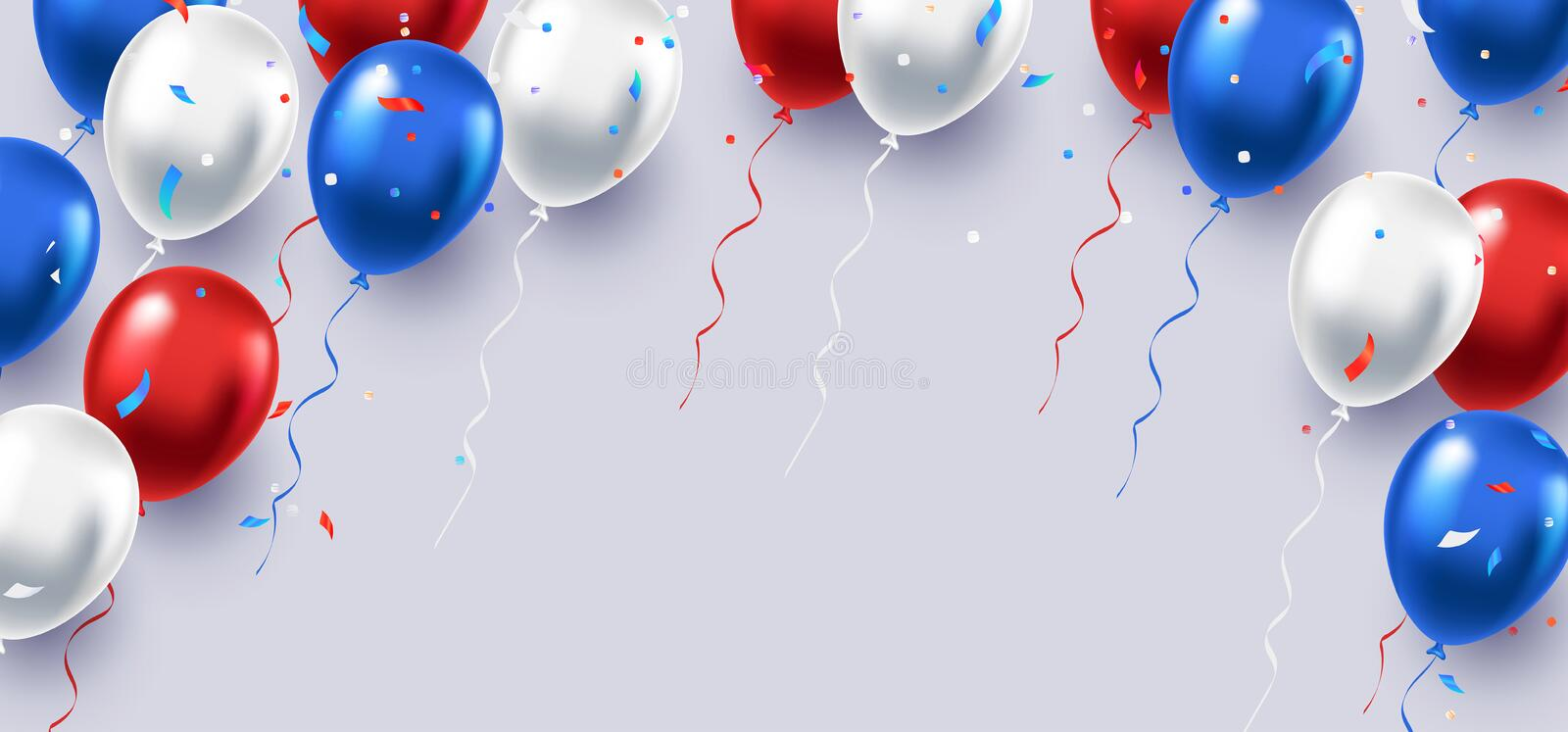 Formal greeting design in national blue, red and white colors with realistic flying balloons vector illustration