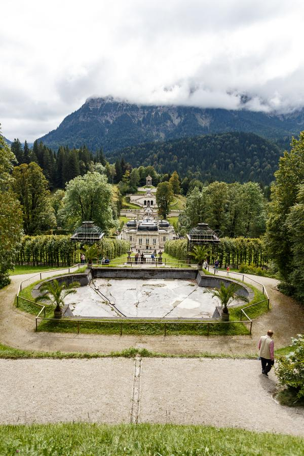 Formal grounds of a stately home or castle stock images