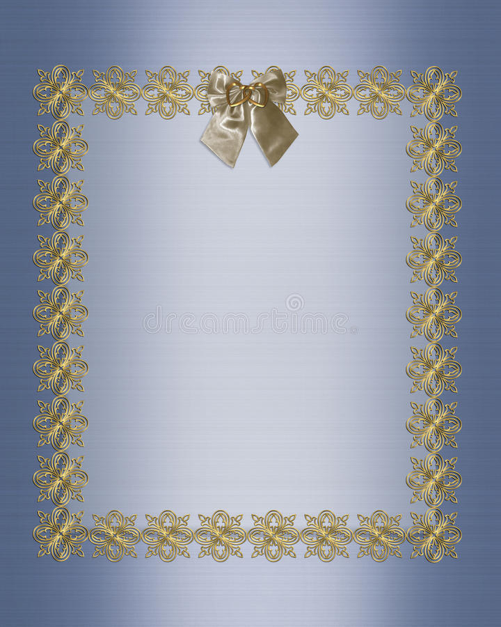 Formal Invitation Template Blue Satin Stock Photo