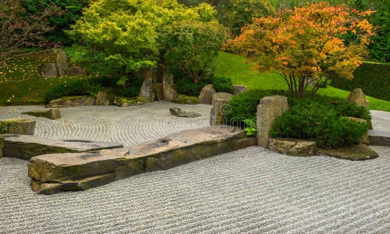 Formal Japanese garden in Autumn stock photography