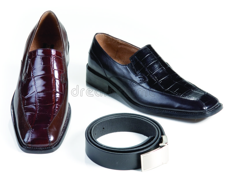 Formal leather shoes and belt stock photo