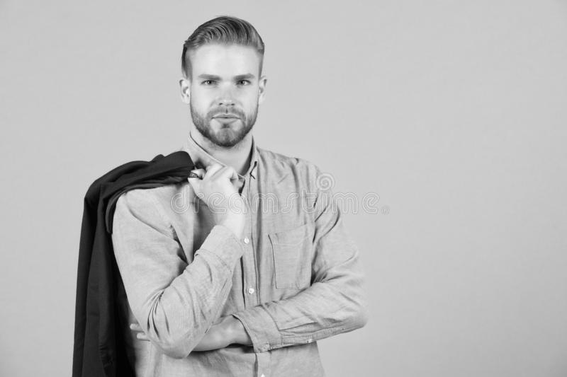 Formal menswear concept. Man bearded strict face wears formal clothes, grey background. Guy bearded attractive with. Hairstyle. Man with beard unshaven guy stock images