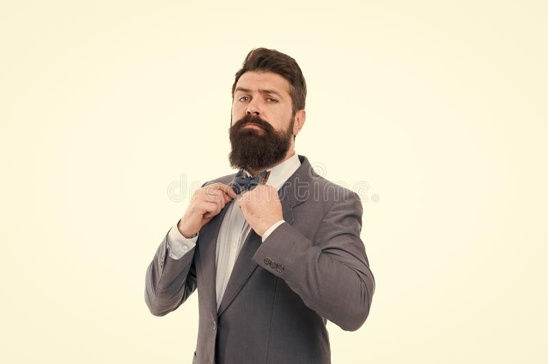 Formal outfit. Take good care of suit. Elegancy and male style. Fashion concept. Confident posture. Businessman or host royalty free stock photography