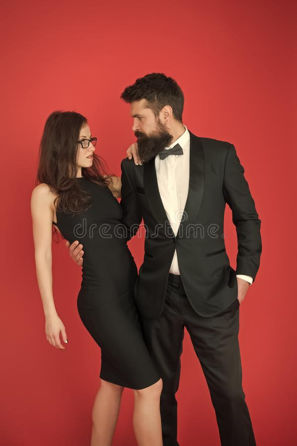 Formal party. Couple in love on date. art experts of bearded man and woman. esthete. Romantic relationship. Formal sexy. Formal party. Couple in love on date royalty free stock image