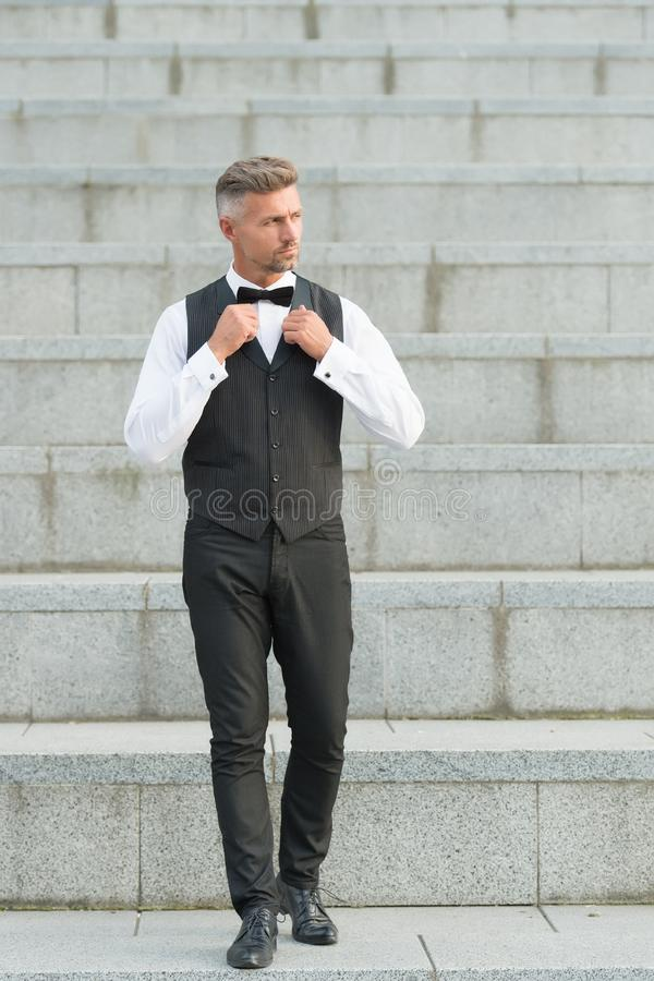 Formal party. He got style. Gentleman modern style. Guy well groomed handsome bearded gentleman macho wear shirt and royalty free stock images