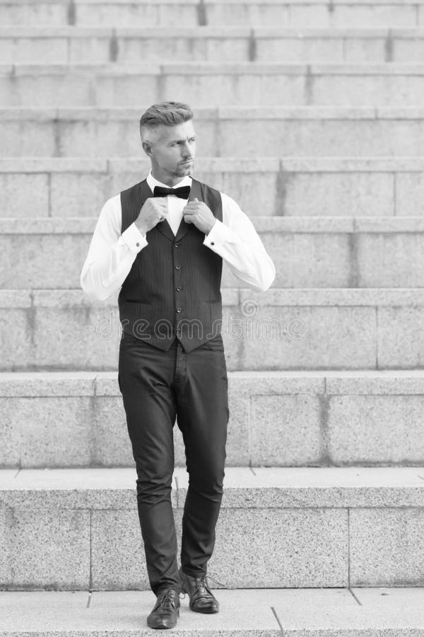 Formal party. He got style. Gentleman modern style. Guy well groomed handsome bearded gentleman macho wear shirt and stock photo