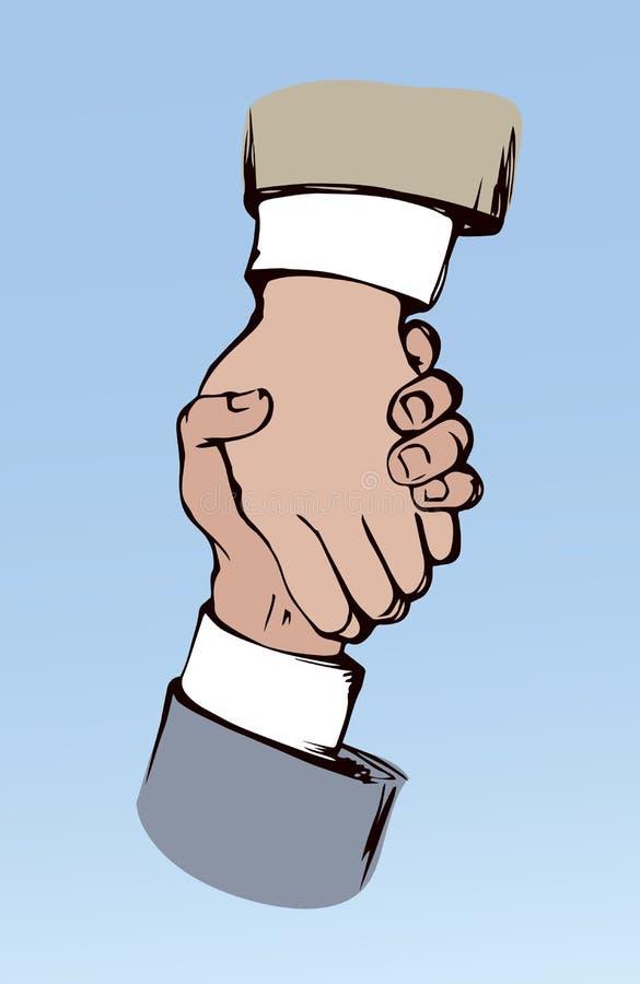 Shake hands. Vector drawing. Formal relationship handclasp on blue background. Black color drawn job unite logo emblem sketch in modern art cartoon graphic style vector illustration