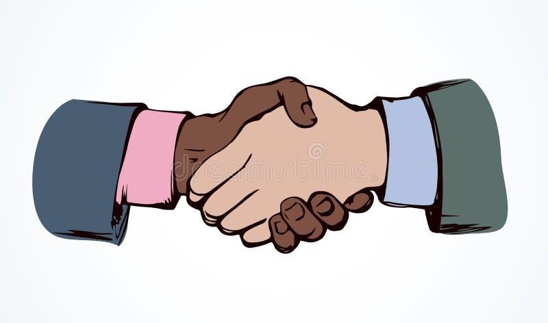 Shake hands. Vector drawing. Formal relationship handclasp on white backdrop. Black color drawn job unite logo emblem sketch in modern art cartoon graphic style royalty free illustration